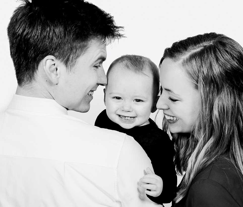 Portrætter af familien København, børnene eller den lille ny
